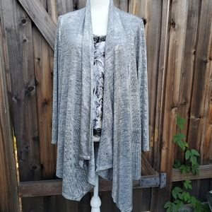 Like New Silver snakeskin pattern draped cardigan
